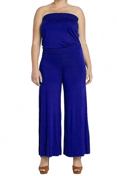 Womens Strapless High Waist Plain Palazzo Tube Jumpsuit Sapphire Blue