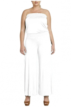 Womens Strapless High Waist Plain Palazzo Tube Jumpsuit White