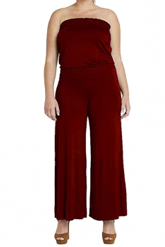 Womens Strapless High Waist Plain Palazzo Tube Jumpsuit Ruby