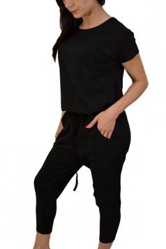 Womens Short Sleeve Drawstring Waist Plain Pockets Jumpsuit Black