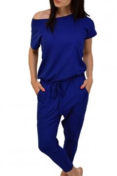 Womens Short Sleeve Drawstring Waist Pockets Jumpsuit Sapphire Blue