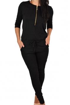 Womens Zipper Front Long Sleeve Drawstring Waist Plain Jumpsuit Black