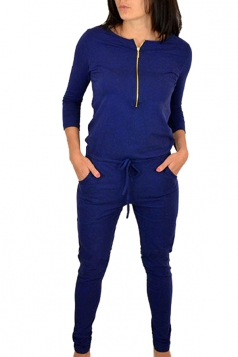 Womens Zip Front Long Sleeve Drawstring Waist Jumpsuit Sapphire Blue