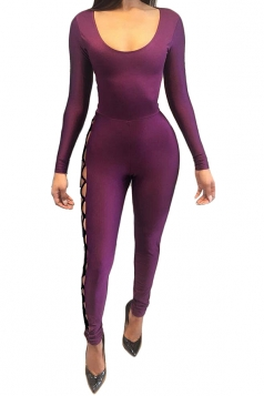 Womens Long Sleeve Cross Lace-up Cutout Backless Jumpsuit Purple