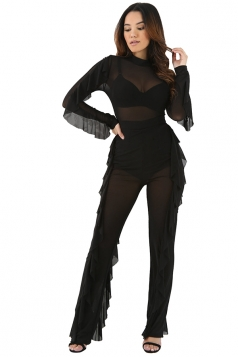 Womens Sheer Long Sleeve Ruffled Plain Jumpsuit Black