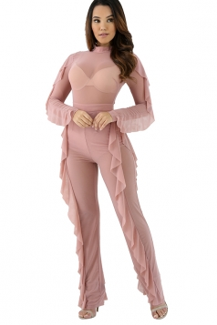 Womens Sheer Long Sleeve Ruffled Plain Jumpsuit Pink