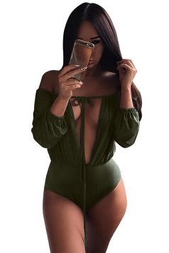 Womens Plunging Neck Off Shoulder Long Sleeve Bodysuit Army Green
