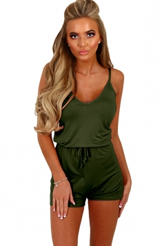 Womens Spaghetti Straps Drawstring Waist One Piece Romper Army Green
