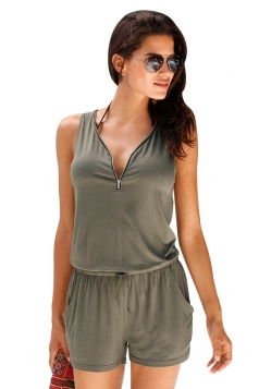 Womens Zip Up V Neck Drawstring Waist Sleeveless Romper Army Green
