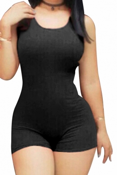 Womens Plain Strappy Backless Bodycon Sleeveless Romper Black
