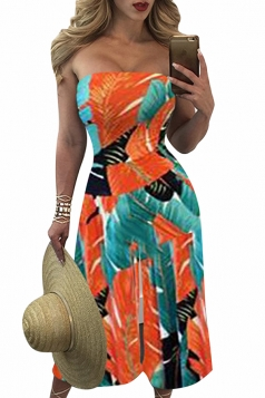 Womens Leaf Printed Strapless High Waist Palazzo Jumpsuit Orange