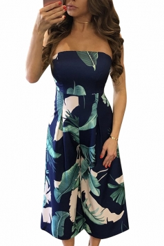 Womens Leaf Printed Strapless High Waist Palazzo Jumpsuit Navy Blue