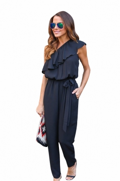 Womens Ruffled One Shoulder Lace-up Waist Plain Jumpsuit Black