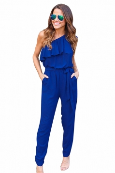 Womens Ruffled One Shoulder Lace-up Waist Plain Jumpsuit Sapphire Blue
