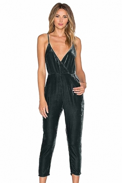 Womens Deep V Neck Backless Spaghetti Straps Pleuche Jumpsuit Gray