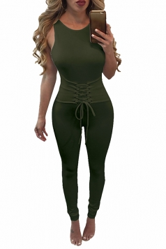 Womens Lace-up Waist Cut Out Back Plain Sleeveless Jumpsuit Army Green