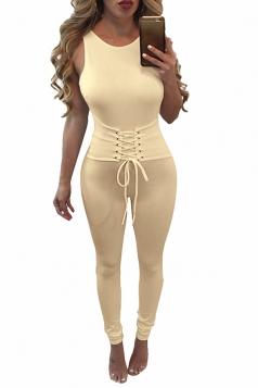 Womens Lace-up Waist Cut Out Back Plain Sleeveless Jumpsuit Apricot