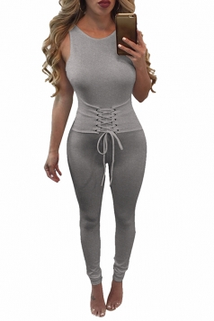 Womens Lace-up Waist Cut Out Back Plain Sleeveless Jumpsuit Gray