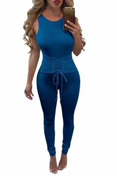 Womens Lace-up Waist Cut Out Back Sleeveless Jumpsuit Sapphire Blue