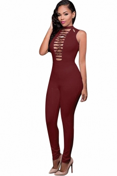 Womens Strappy Cutout High Waist Sleeveless Plain Jumpsuit Ruby