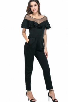 Womens Mesh Splicing Ruffled High Waist Plain Jumpsuit Black