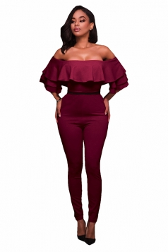 Womens Ruffled Off Shoulder High Waist Short Sleeve Jumpsuit Ruby