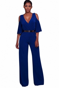 Womens V Neck Cold Shoulder Flare Sleeve Belt Jumpsuit Sapphire Blue