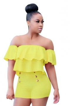 Womens Sexy Strapless Ruffle High Waist Romper Yellow