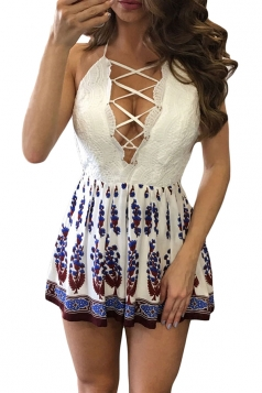 Womens Sexy Lace-up V-Neck Backless Boho Printed Romper Blue