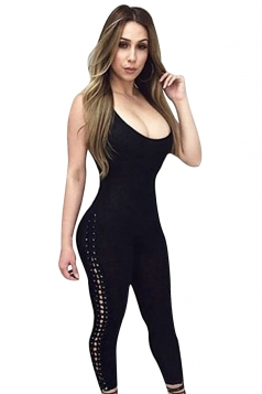 Womens Sexy lace-up Side Closing-fitting Kntiing Jumpsuit Black