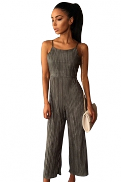 Womens Sexy Straps Open Back High Waist Wide Leg Jumpsuit Gray