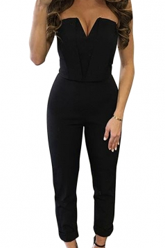 Womens Sexy Strapless V-neck High Waist Jumpsuit Black