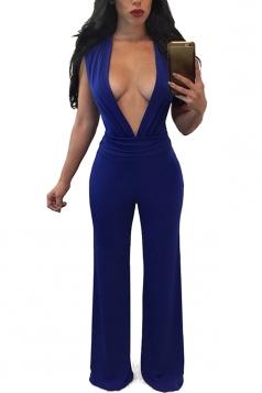 Womens Sexy Deep V-neck Pleated Wide Leg Jumpsuit Sapphire Blue
