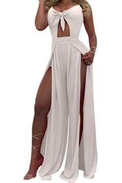 Womens Sexy Straps Hollow Out Bow Slits High Waist Jumpsuit White