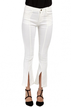 Womens Slit Bell Bottom Plain High Waist Jeans White