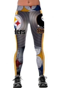 Womens Elastic Steelers Printed Sports Leggings Gray