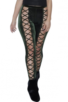 Womens Cut Out Lace-up Front Plain Velvet Leggings Army Green