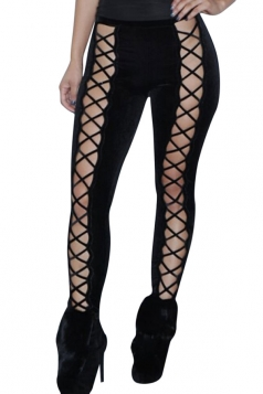 Womens Cut Out Lace-up Front Plain Velvet Leggings Black