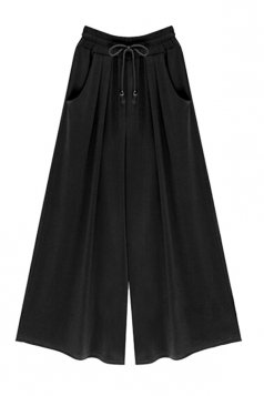 Womens Drawstring Waist Plus Size Palazzo Leisure Pants Black