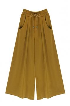 Womens Drawstring Waist Plus Size Palazzo Leisure Pants Ginger