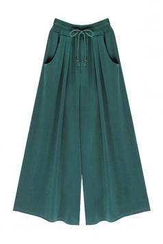 Womens Drawstring Waist Plus Size Palazzo Leisure Pants Green