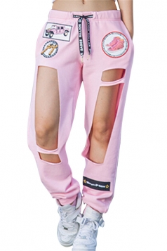 Womens Applique Drawstring Waist Cut Out Leisure Pants Pink