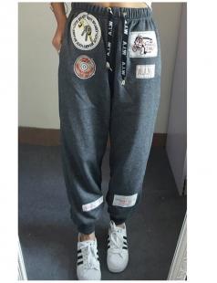 Womens Drawstring Waist Applique Loose Leisure Pants Gray