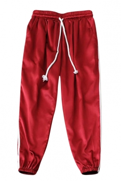 Womens Drawstring Waist Sides Striped Plain Leisure Pants Red