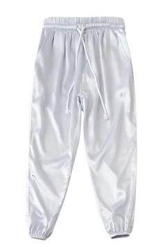 Womens Drawstring Waist Sides Striped Plain Leisure Pants White
