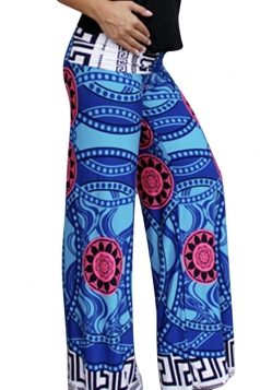 Womens Exotic Printed Color Block Palazzo Leisure Pants Blue