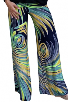 Womens Exotic Printed Color Block Palazzo Leisure Pants Yellow