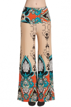 Womens High Waist Color Block Exotic Printed Palazzo Pants Khaki