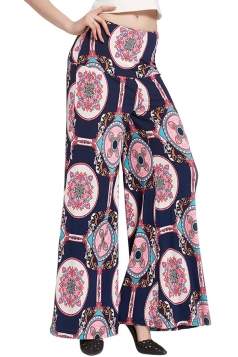 Womens Color Block Exotic Print Palazzo Leisure Pants Navy Blue