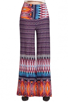 Womens Color Block Exotic Print High Waist Palazzo Pants Rose Red